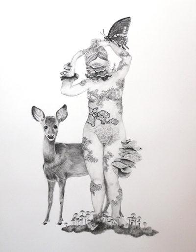 nu aux champignons- crayon noir gras- 56x76 - 2019