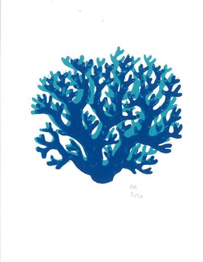 corail bleu - gravure sur bois - 15x20 cm - 2019