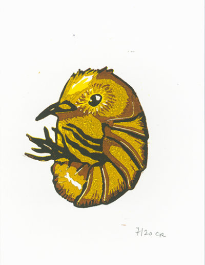 gravure moineau cloporte - gravure sur bois - 15x20 - 2020