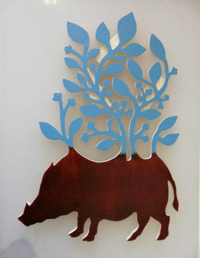gravure sanglier 1 - bois de peuplier - encre charbonnel
