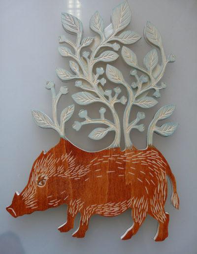 gravure sanglier 6 - bois de peuplier gravé