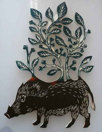 gravure sanglier 7 - bois de peuplier - encre charbonnel